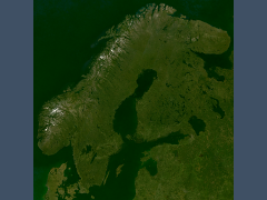 Landsat mosaic of Scandinavia