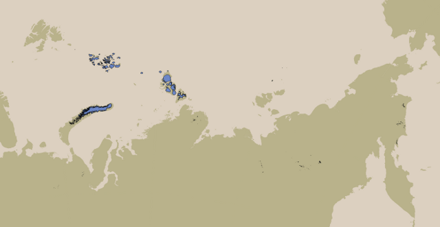 Coverage of Russian Arctic glacier data
