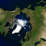 The Arctic with minimized sea ice depiction