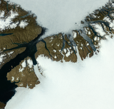 Greenland exposed for the snow areas