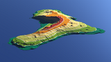 El Hierro with altitude layers and contour lines
