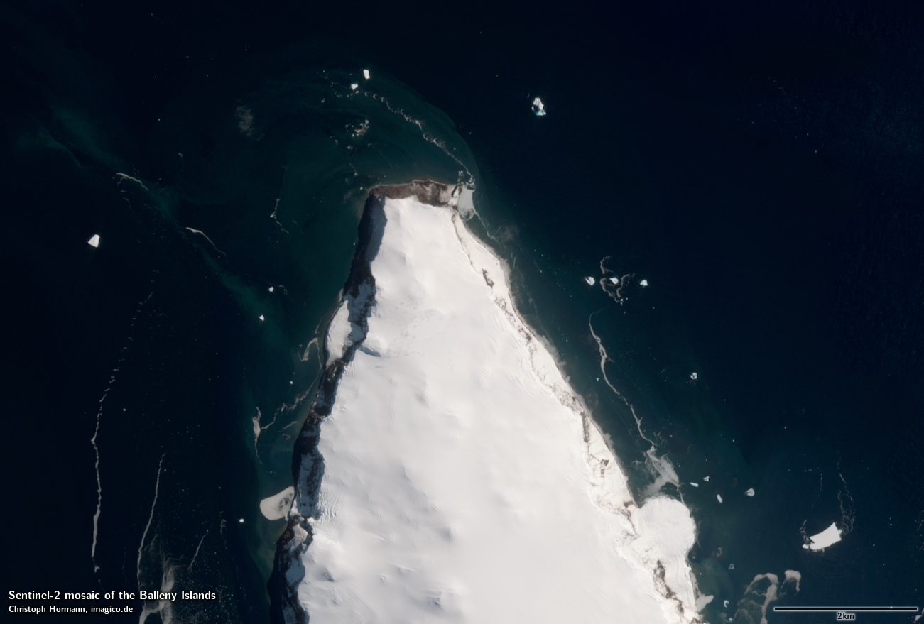 Sentinel 2 Mosaik Der Balleny Inseln Beispielausschnitt: Northern Young  Island ...
