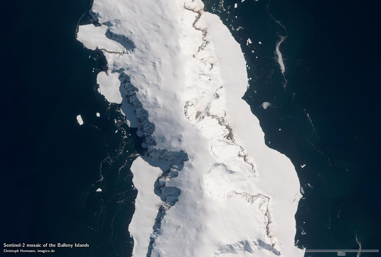... Sentinel 2 Mosaik Der Balleny Inseln Beispielausschnitt: Sturge Island