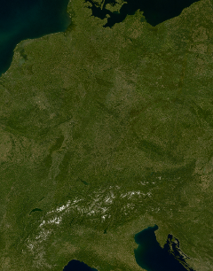 Landsat mosaic of Germany and the Alps