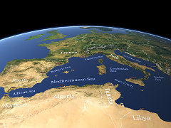 western Mediterranean Sea with labels
