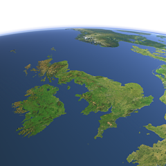 Great Britain and Ireland from southwest