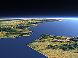 Closeup view of the Strait of Gibraltar