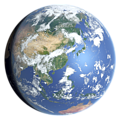 Whole earth in July with sea ice and clouds (East Asia)