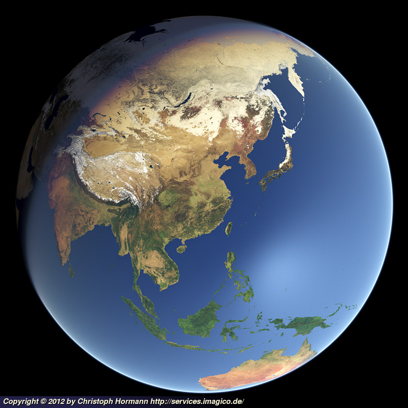 Whole Earth In January With Sea Ice (East Asia)