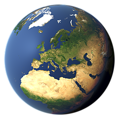 Whole earth view focusing on Europe