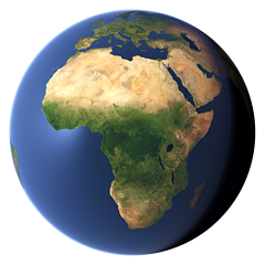 Whole earth view centered on Africa