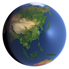 Whole earth view centered on East Asia