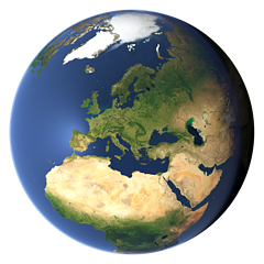 Whole earth view centered on Europe