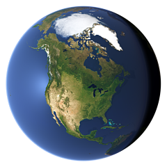 Whole earth view centered on North America