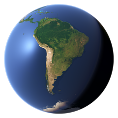 Whole earth view centered on South America