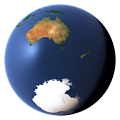 Whole earth view centered on Australia, New Zealand and the Antarctic