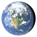 Whole earth in July with sea ice and clouds (North America)