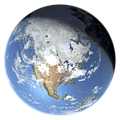 Whole earth in January with sea ice and clouds (North America)