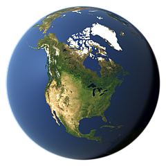Whole earth view focusing on North America
