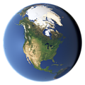 Whole earth in July with sea ice (North America)