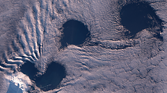 Clouds around Heard Island in Winter 2019