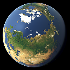 Whole earth view focusing on Siberia and the North Pole